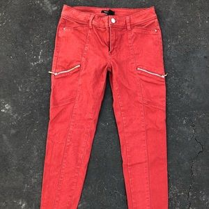 High Waisted Zip Pocket Jeans Red